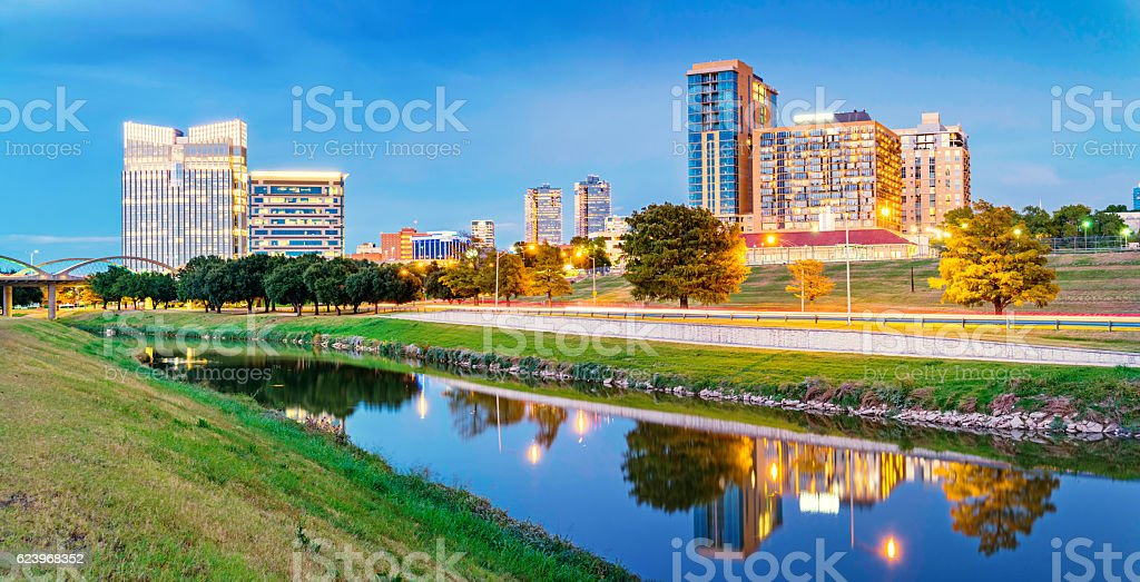 Skyline of Fort Worth Texas USA stock photo