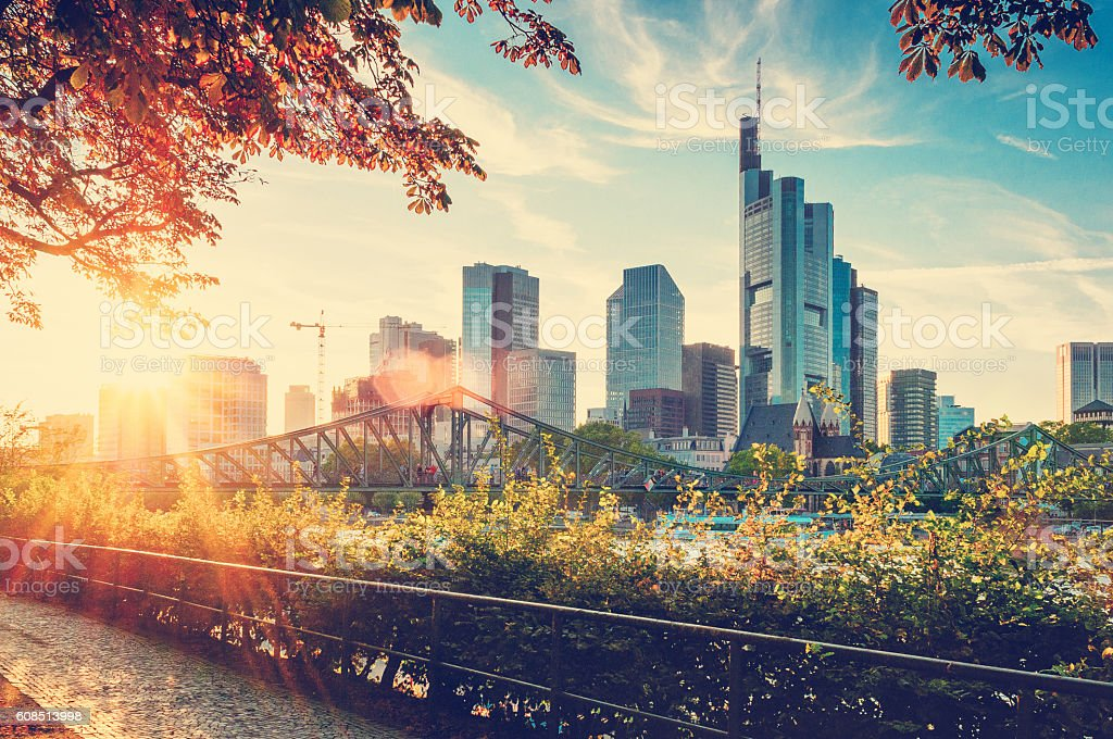 Skyline of Frankfurt am Main stock photo