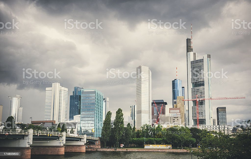 Skyline of Frankfurt am Main with dark clouds royalty-free stock photo