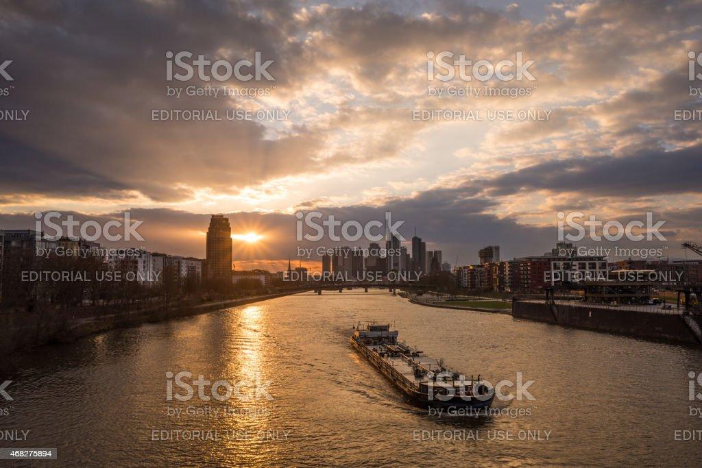 Skyline of Frankfurt at sunset with river Main stock photo