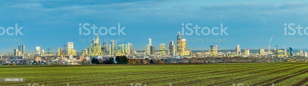 skyline of Frankfurt by night stock photo
