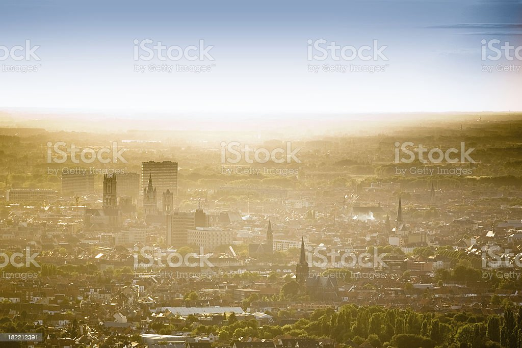 Skyline of Ghent, Belgium stock photo
