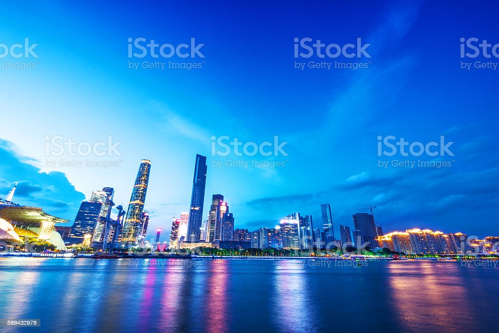 skyline of guangzhou at night stock photo