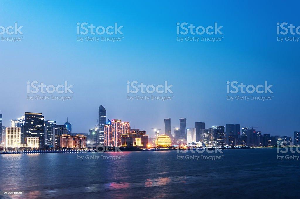 skyline of guangzhou at night stock photo