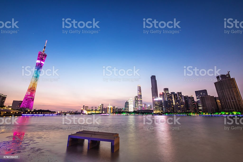 skyline of guangzhou with sunset stock photo