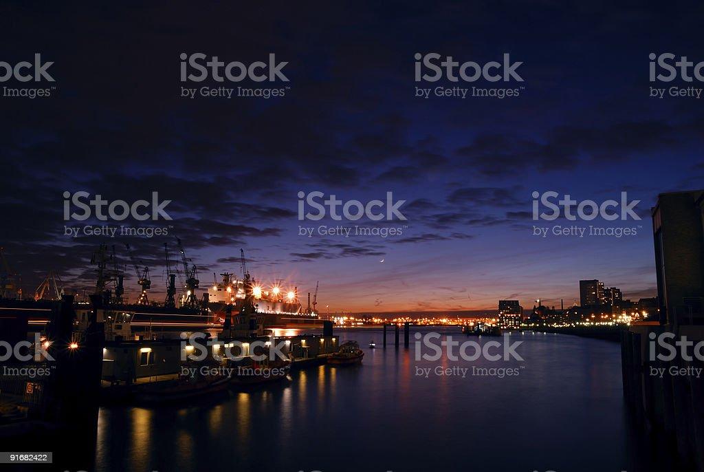 skyline of Hamburg'sport, Germany. royalty-free stock photo