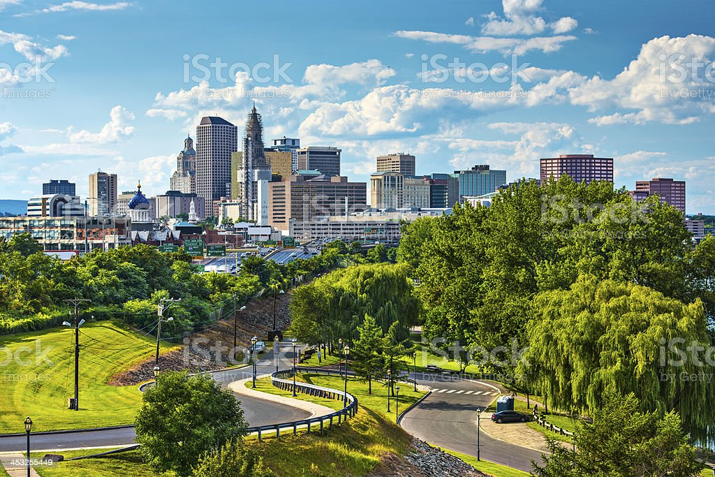 Skyline of Hartford Connecticut on a beautiful sunny day stock photo