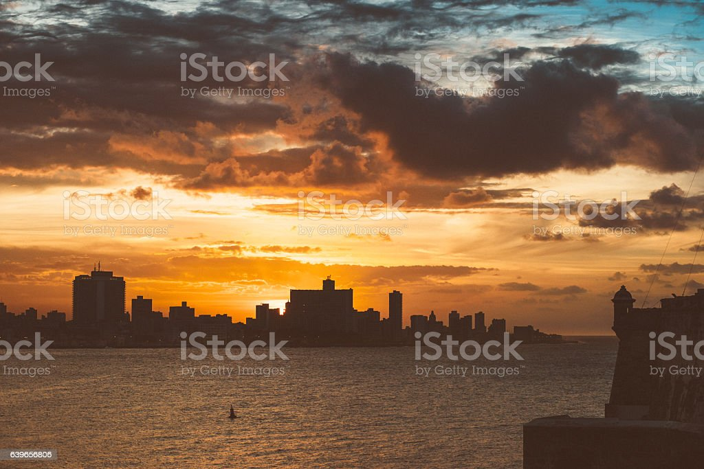 Skyline of Havana Cuba stock photo