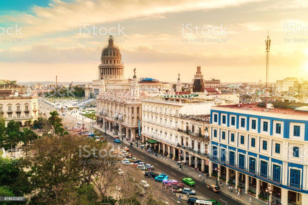 Skyline of Havana with Capitol building at dusk stock photo