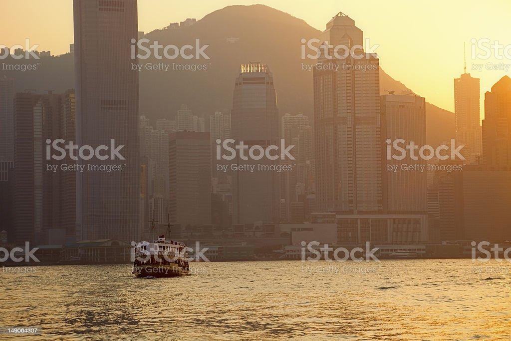 Skyline of Hong Kong at Dusk stock photo