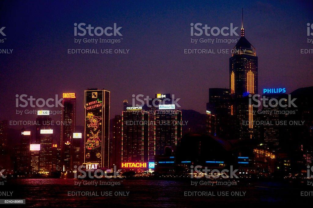 Skyline of Hong Kong at Night stock photo