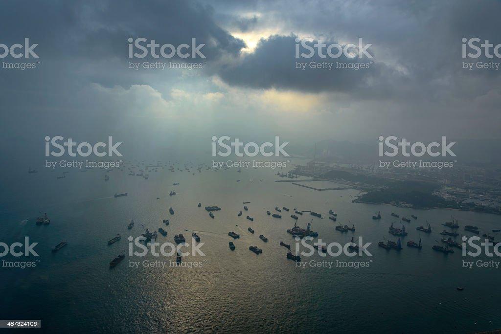 Skyline of Hong Kong at sunset from Sky 100Skyline of Hong Kong at royalty-free stock photo