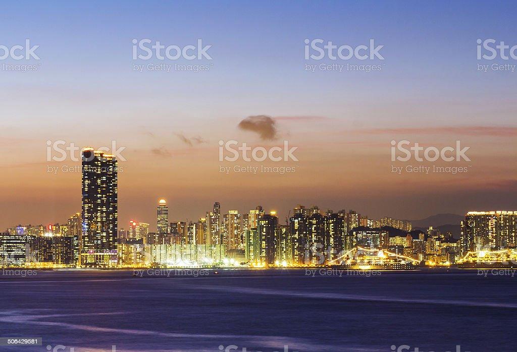 Skyline of Hong Kong at sunset stock photo