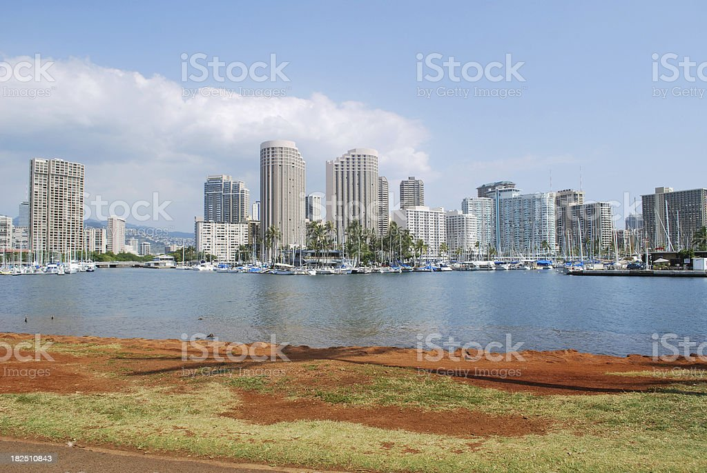 Skyline of Honolulu Downtown royalty-free stock photo