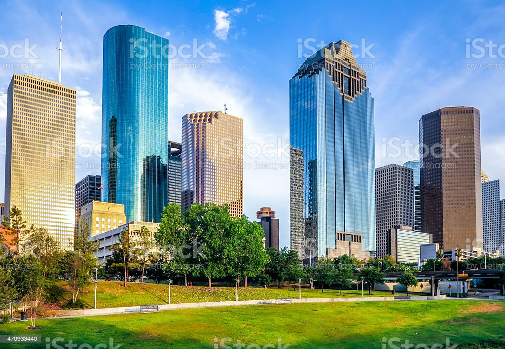 skyline of houston in sunset stock photo