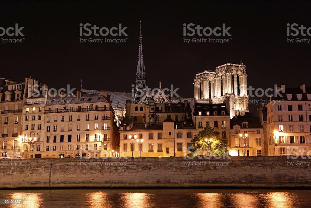 Skyline of Ile de la cite in Paris by night royalty-free stock photo