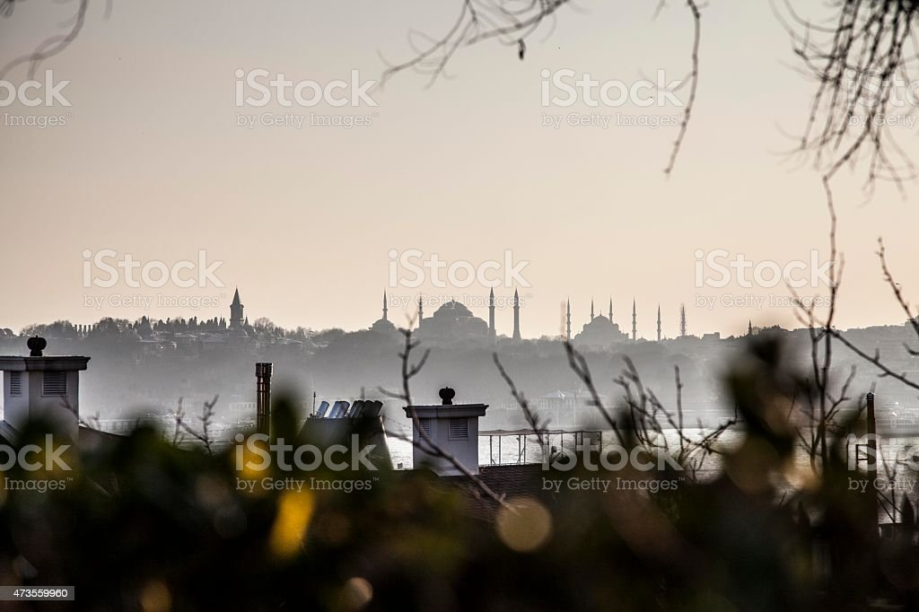 Skyline of Istanbul's old town at sunset stock photo