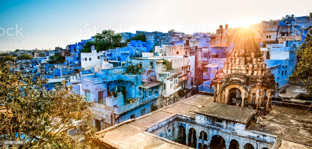 Skyline of Jodhpur the Blue City of India at Sunset stock photo