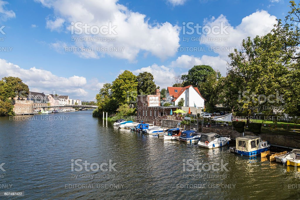 skyline of Kassel vith view to Auedamm at river Fulda stock photo