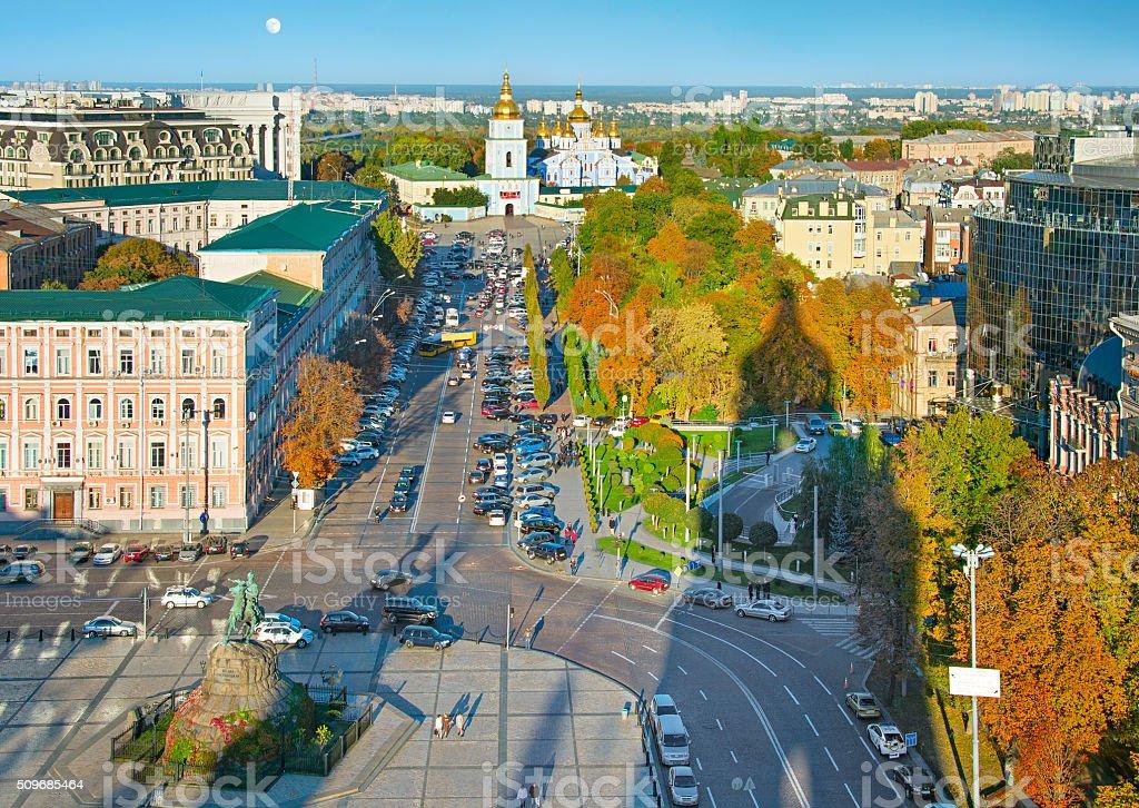 Skyline of Kiev Old Town stock photo