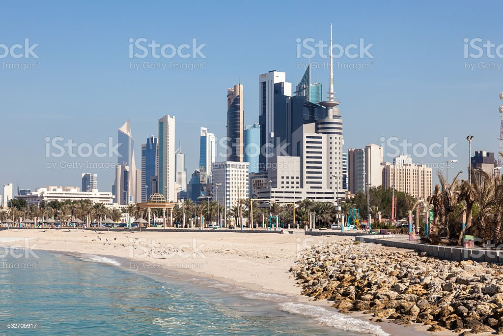 Skyline of Kuwait City stock photo