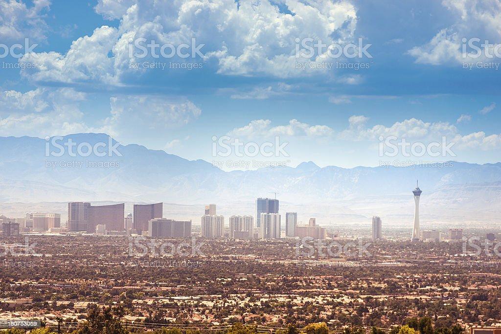 Skyline of Las Vegas city stock photo