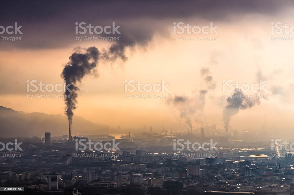 Skyline of Linz and heavy industry in Upper Austria stock photo