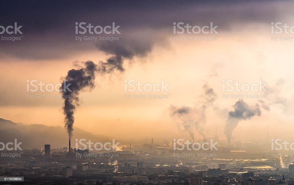 Skyline of Linz and heavy industry in Upper Austria stock photo