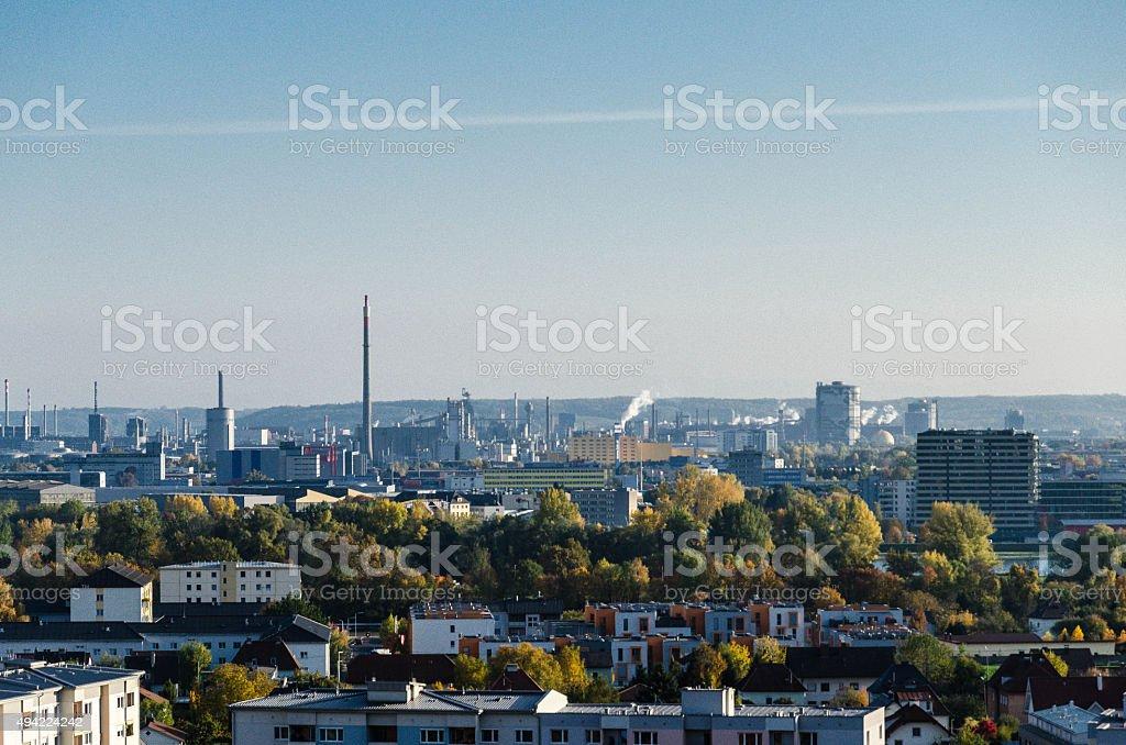 Skyline of Linz in Upper Austria on an autumn morning stock photo