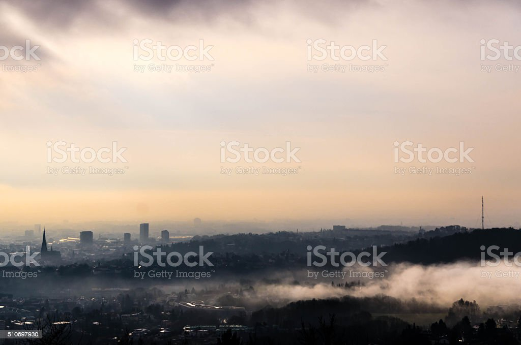 Skyline of Linz in Upper Austria stock photo