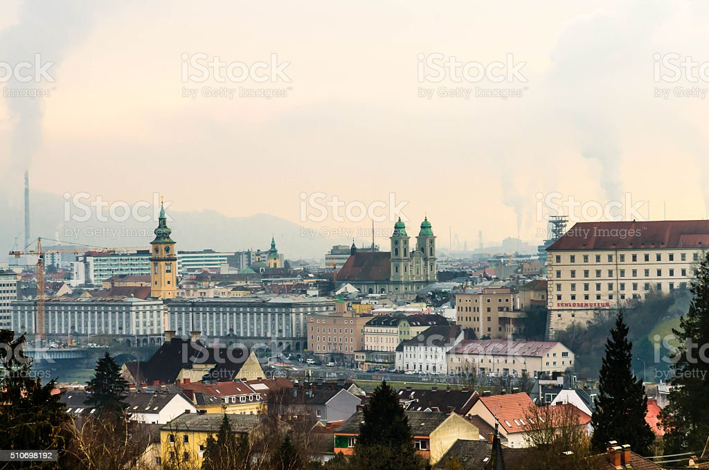 Skyline of Linz in Upper Austria stock photo