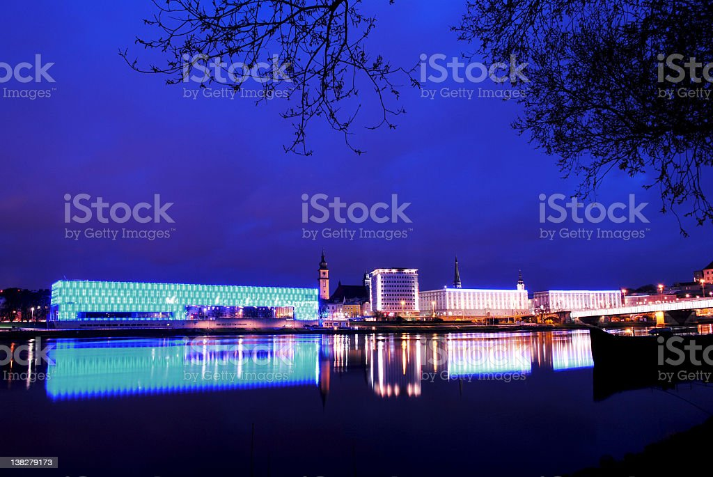 Skyline of Linz/Austria and blue Danube stock photo
