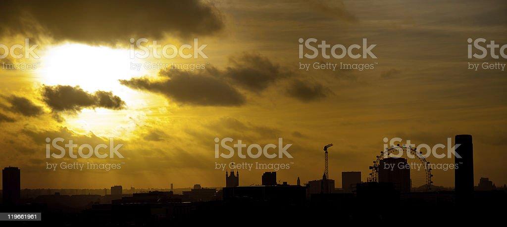 Skyline of London (UK) at golden sunset stock photo
