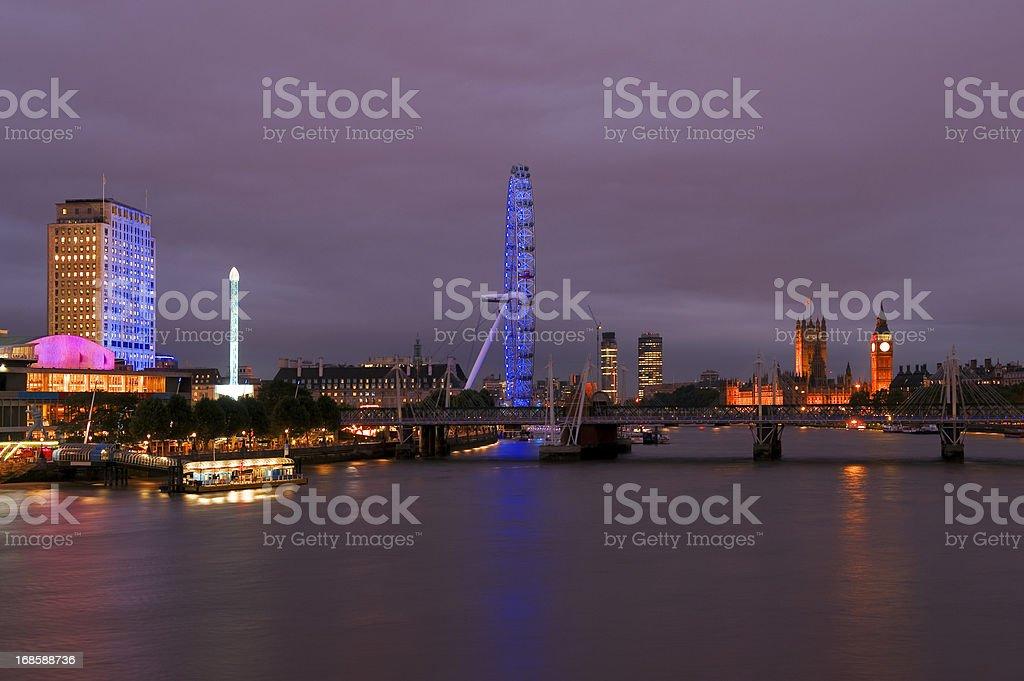 Skyline of London by Night royalty-free stock photo