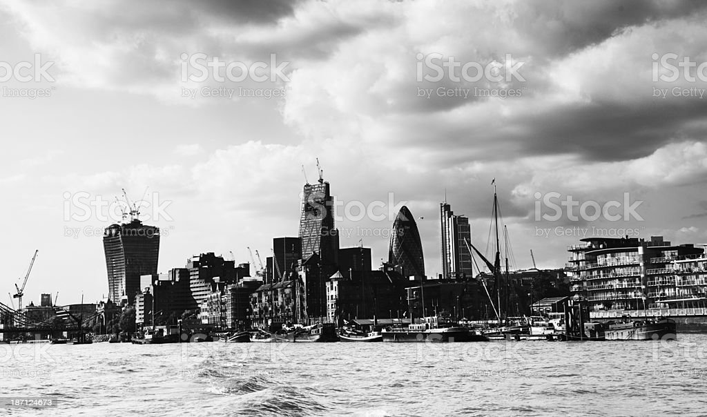 Skyline of London - England. Black And White. royalty-free stock photo