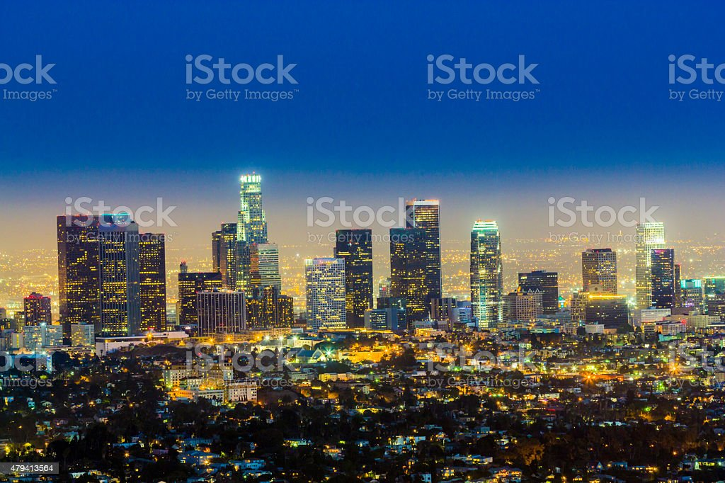 skyline of Los Angeles by night stock photo