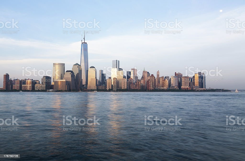 Skyline of Lower Manhattan at dusk royalty-free stock photo