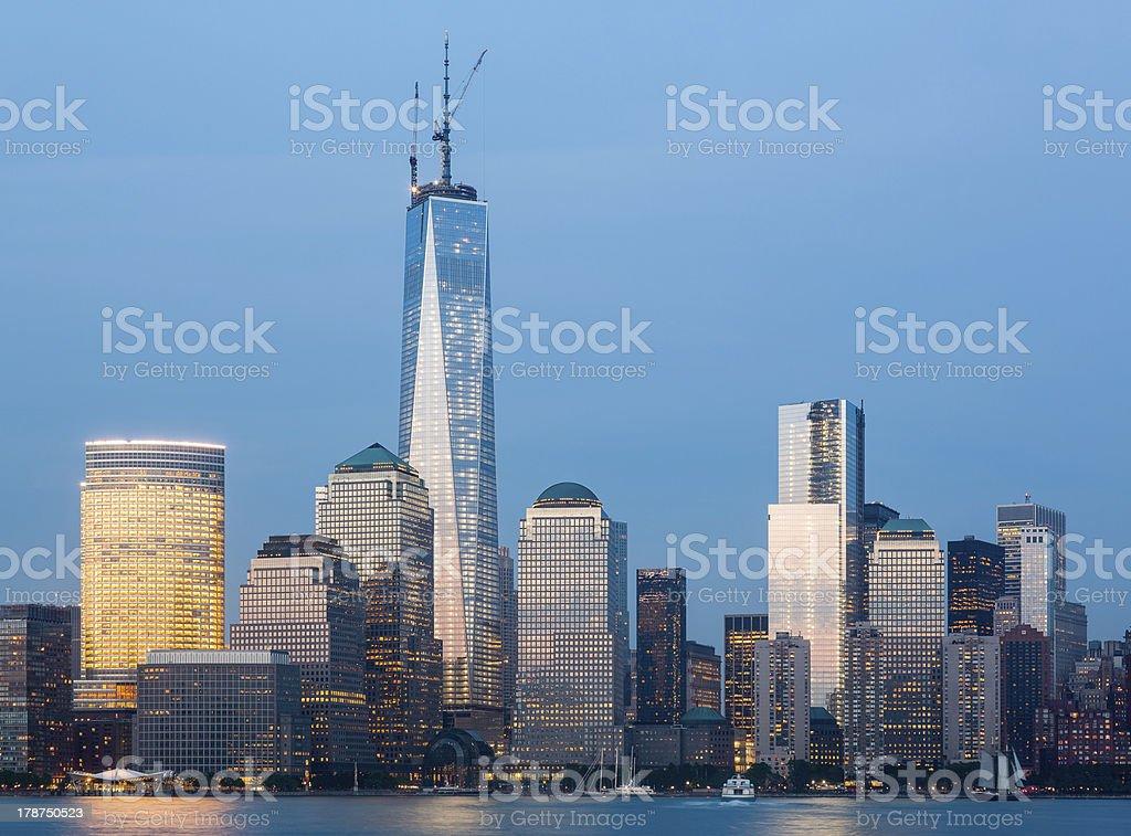 Skyline of Lower Manhattan at night royalty-free stock photo