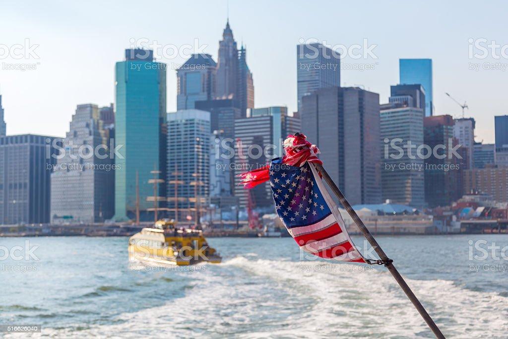 skyline of Lower Manhattan, seen from a ferry stock photo
