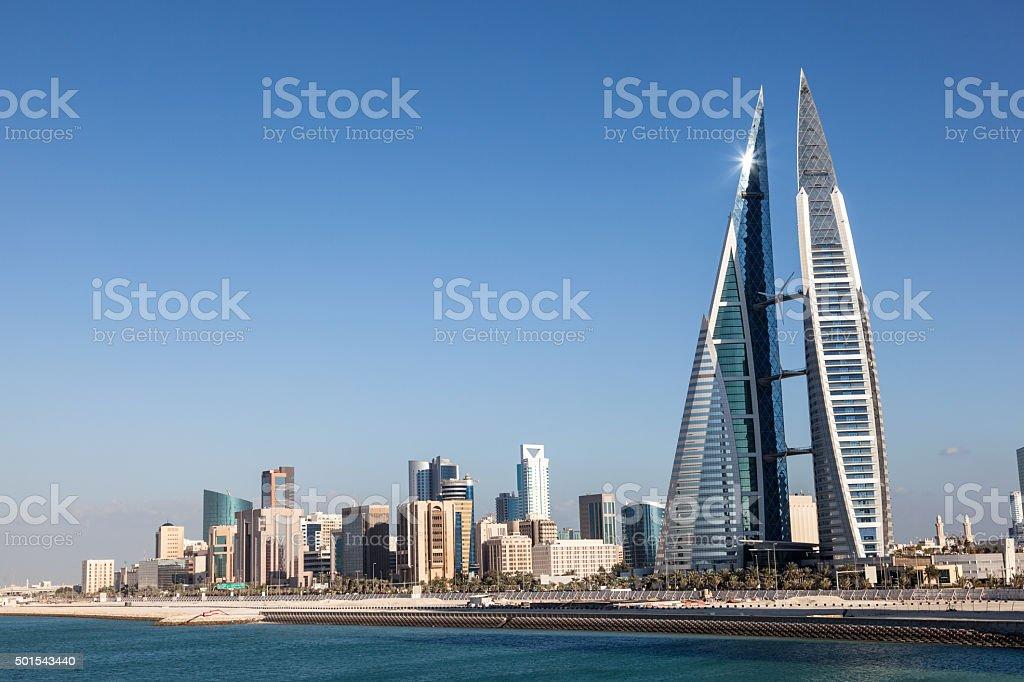 Skyline of Manama, Bahrain stock photo