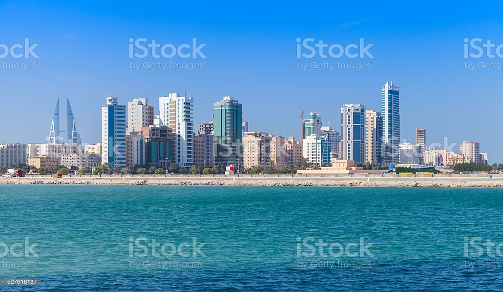 Skyline of Manama city, Bahrain, Middle East stock photo