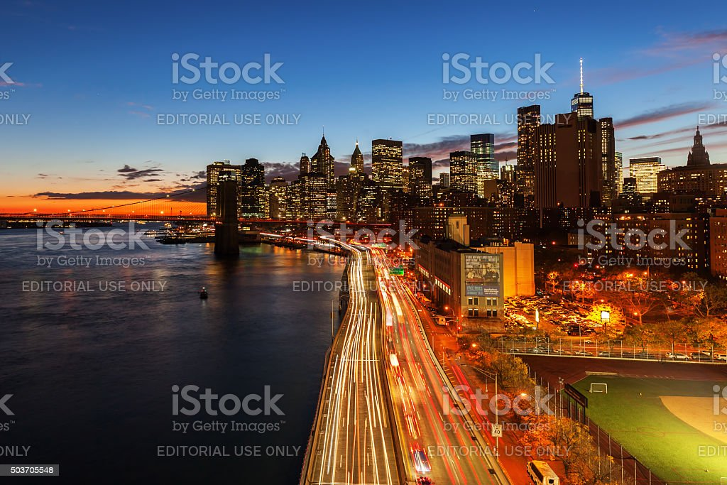 skyline of Manhattan at night stock photo