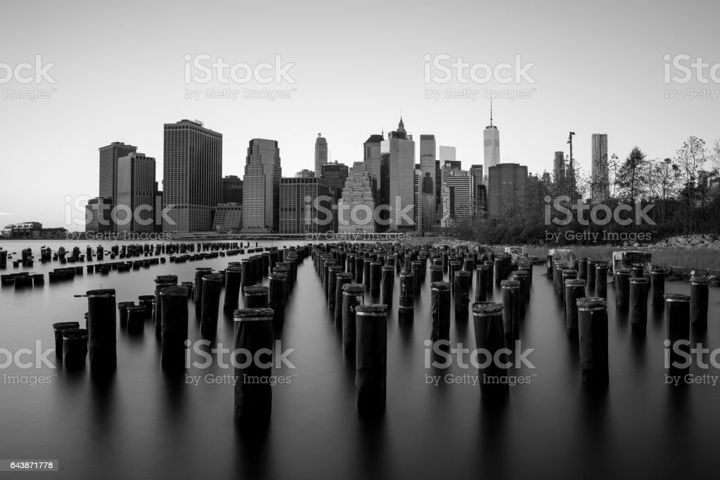 Skyline of Manhattan from Brooklyn Black and White stock photo