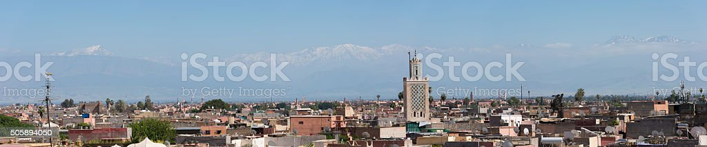 Skyline of Marrakech, Morocco with the Atlas Range stock photo