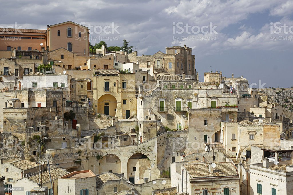 Skyline of Matera, the city of the 'Sassi'. Italy. stock photo