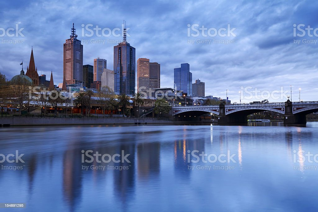 Skyline of Melbourne, Australia across the Yarra River at dusk royalty-free stock photo