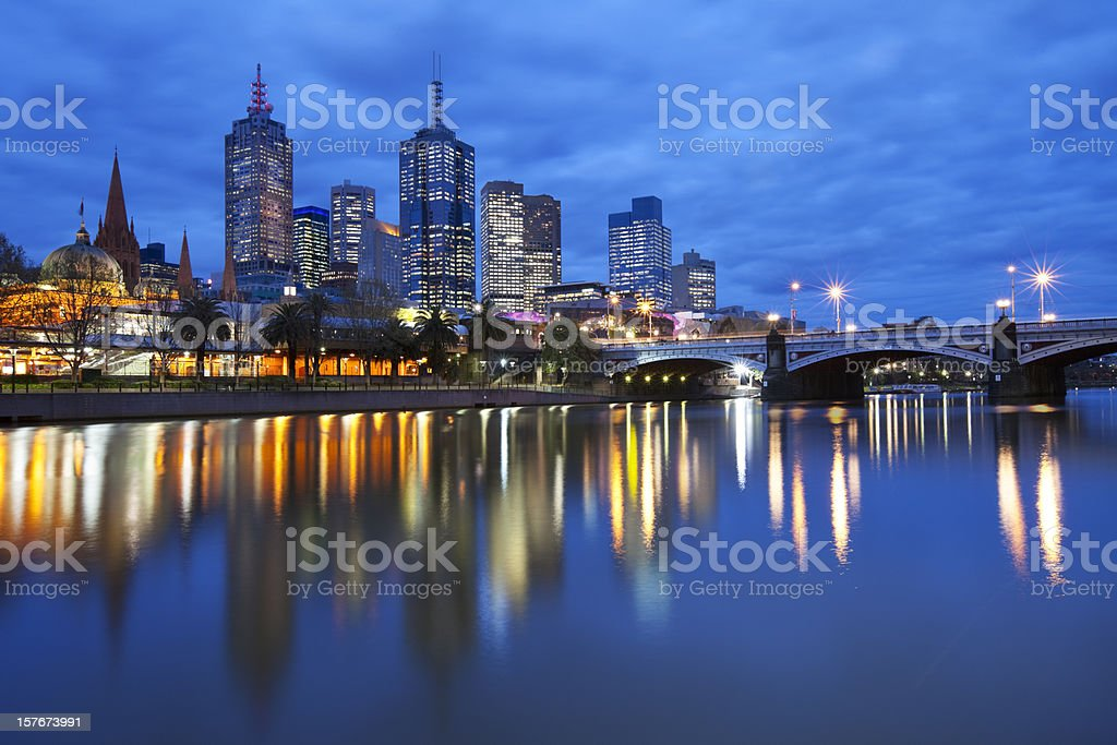 Skyline of Melbourne, Australia across the Yarra River at night stock photo