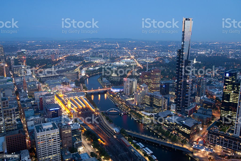 Skyline of Melbourne, Australia photographed from above at night stock photo