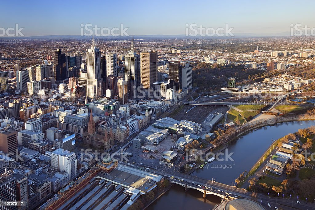 Skyline of Melbourne, Australia photographed from above at sunset stock photo