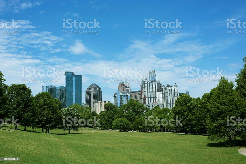 Skyline of Midtown Atlanta, Georgia from Piedmont Park stock photo